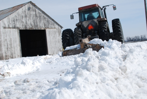 Daddy's Tractor does all kinds of jobs, including plowing snow!