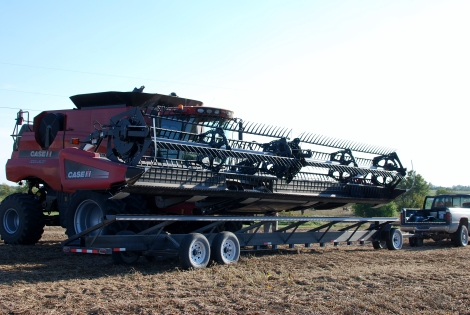 How a combine travels down the road!  {DaddysTractor.com}