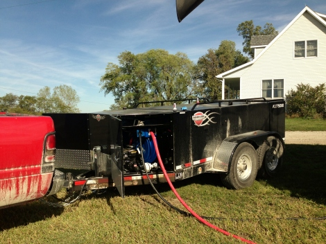 Fueling the combine {DaddysTractor.com}